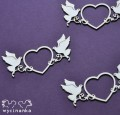 BEAUTIFUL WEDDING - decorative hearts with pigeons, 3 pcs.