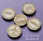 MAN'S WORLD - badges / buttons, 3 mm plywood