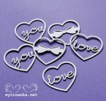 LOVE LETTER -hearts, 6 pieces